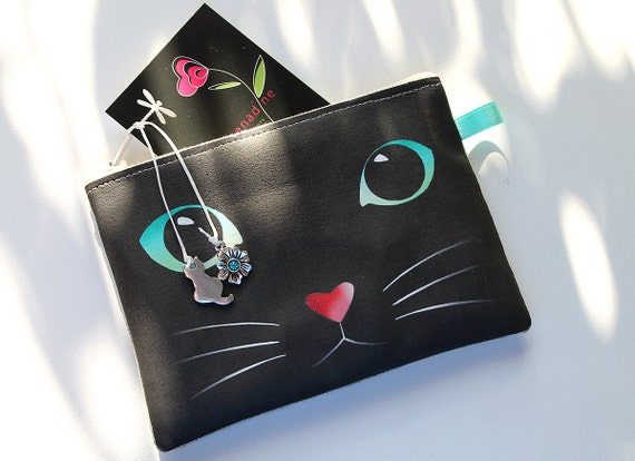 Illustrated natural linen 'black cat' wallet