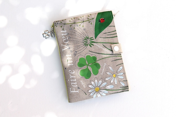 Organizer bag / multipockets in natural linen illustrated clover and ladybug