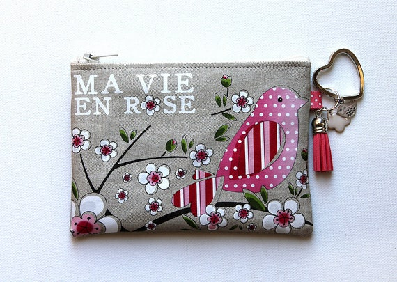 "Coin purse-key cards in natural linen with illustration ""my vie en rose"""