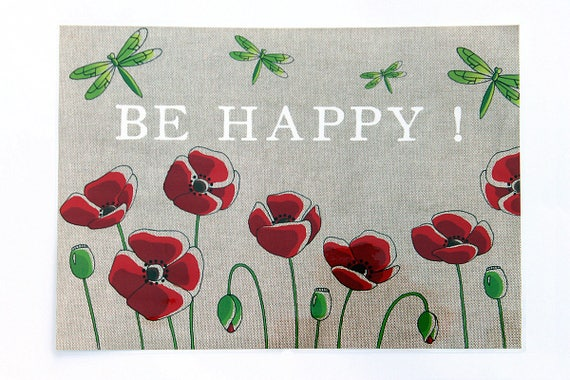 "Laminated placemat ""BE HAPPY!"""