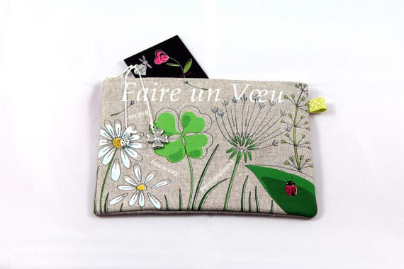 "Natural linen pouch illustrated ""make a wish"""