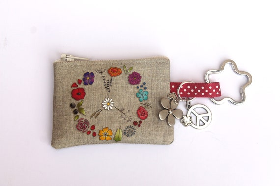 "linen key holder / mini wallet illustrated "" PEACE """