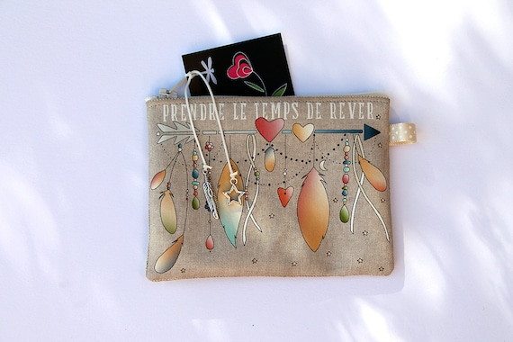 "Wallet in natural linen illustrated ""time to dream"""