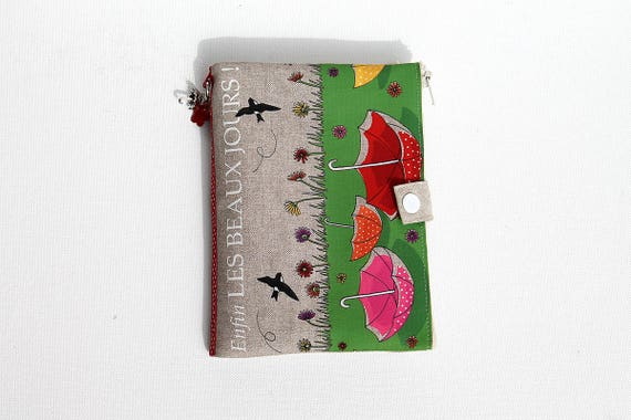 "Bag organizer / Multipockets in natural linen illustrated "" Enfin les beaux jours """