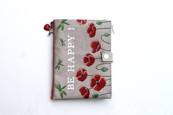 "Organizer of bag / multipockets in natural linen illustrated poppies and dragonflies ""Be Happy!"""