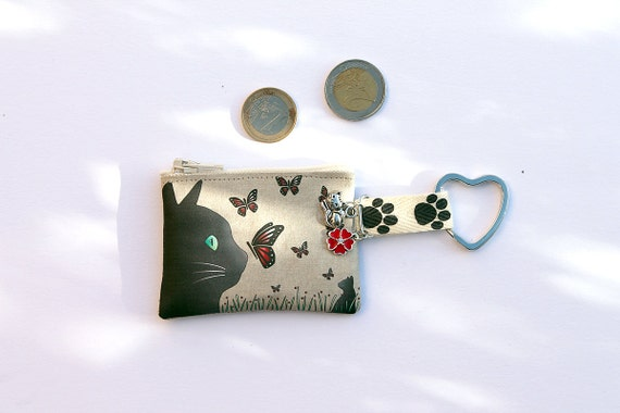 "Keychain/mini wallet in illustrated linen ""cat and butterflies"""