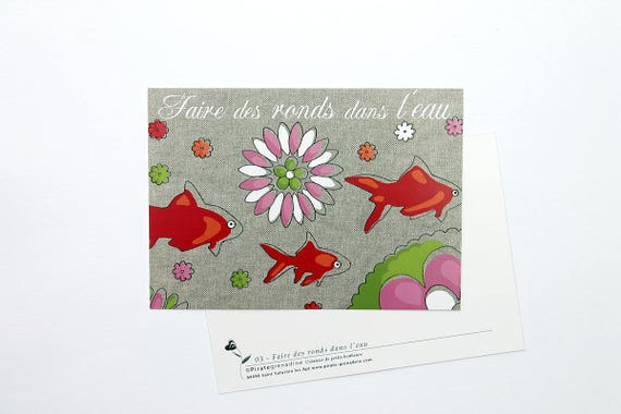 "Map postcard little goldfish ""Make rings in the water"""