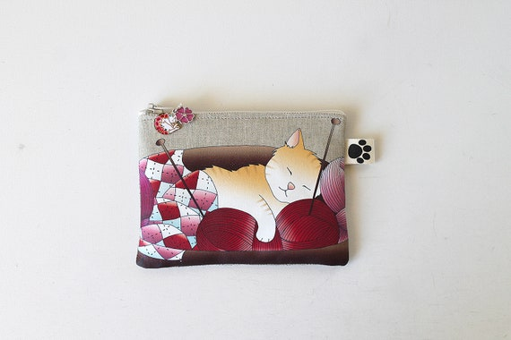 "Illustrated natural linen coin purse ""wool cat and balls"""