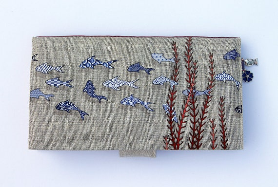 checkbook holder in natural linen blue fishes and coral