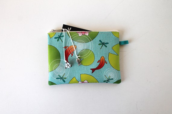 "Wallet shown natural linen ""water lilies and Red fish"""