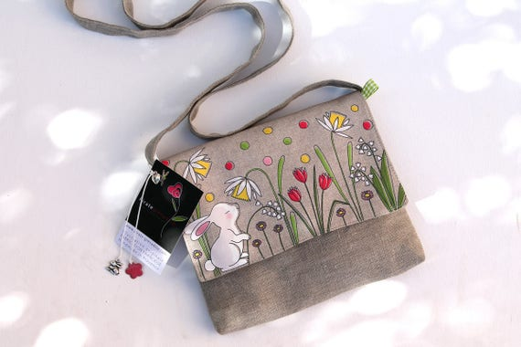 Crossbody bag in natural linen illustrated small white rabbit