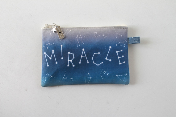 "Natural linen wallet illustrated ""MIRACLE"""