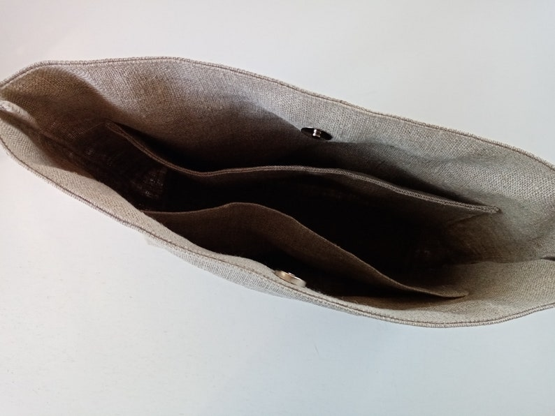 Large natural linen bag organizer illustrated  swimmer and goldfish