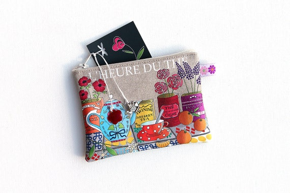 "Wallet linen illustrated ""Tea time"""