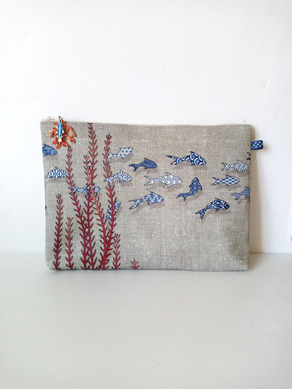 """Large natural pouch """"small azulejo fish"""""""