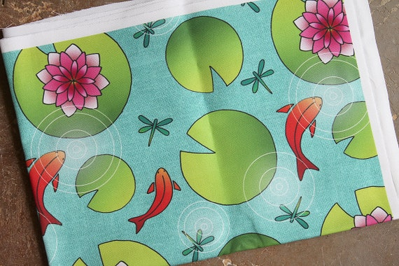 "Coupon fabric linen and cotton original motif ""water lilies and goldfish"""