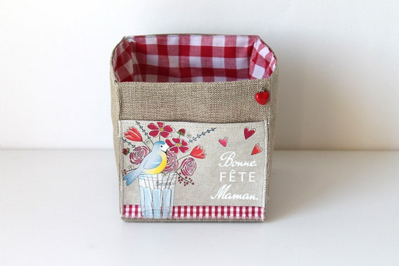 Small basket square linen illustrated mother's day.""