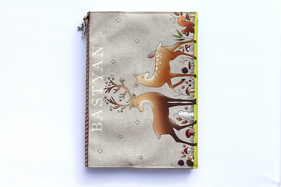 "Protects health in natural linen, customizable and illustrated ""the enchanted forest"" book"