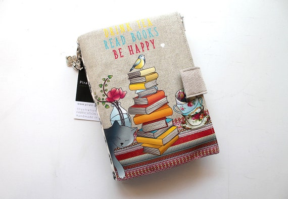 "Purse Organizer / AOR illustrated linen ""Drink tea Read books Be happy"""