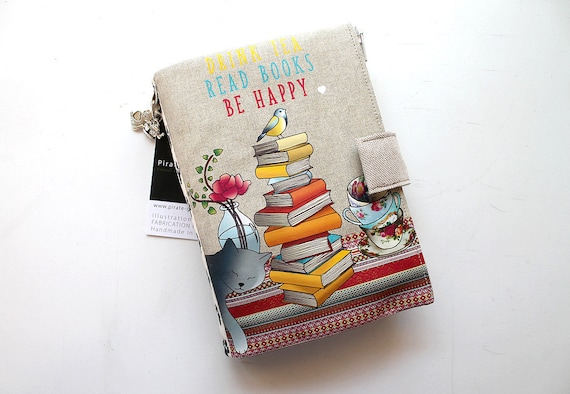 "Natural linen bag / multipocket organizer shown ""Drink tea, Read books, Be happy"""