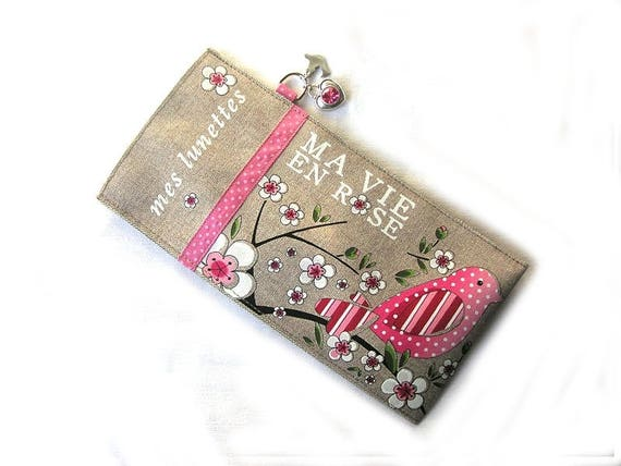 "Linen glasses case ""my vie en rose"""