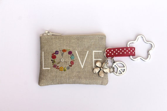 "key holder / mini coin purse in illustrated linen "" LOVE """