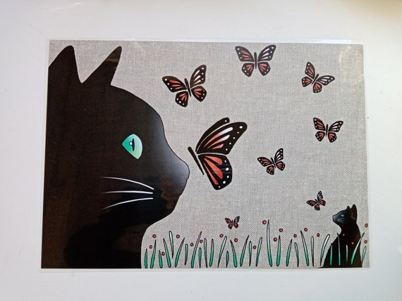 Plastified cat placemat cat and butterflies