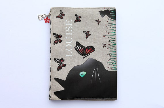 "Protects health in natural linen, customizable and illustrated ""cat and butterflies"" book"