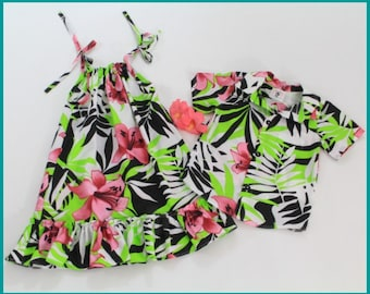 7d566e775 Girls Hawaiian Dress, Boys Aloha Shirt, Luau Outfit, Matching Sibling  Clothing, Cruise Clothing