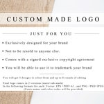 Custom Made Logo with EXCLUSIVE LICENCE AGREEMENT- Designed just for you.