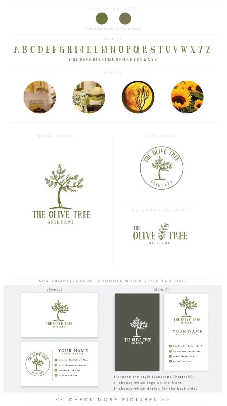 Olive Tree Logo  Premade Photography Logo and Watermark image 0