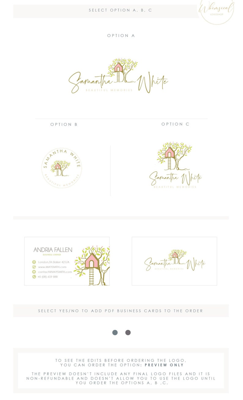 Cute Treehouse Logo 5  Premade Photography Logo and image 0