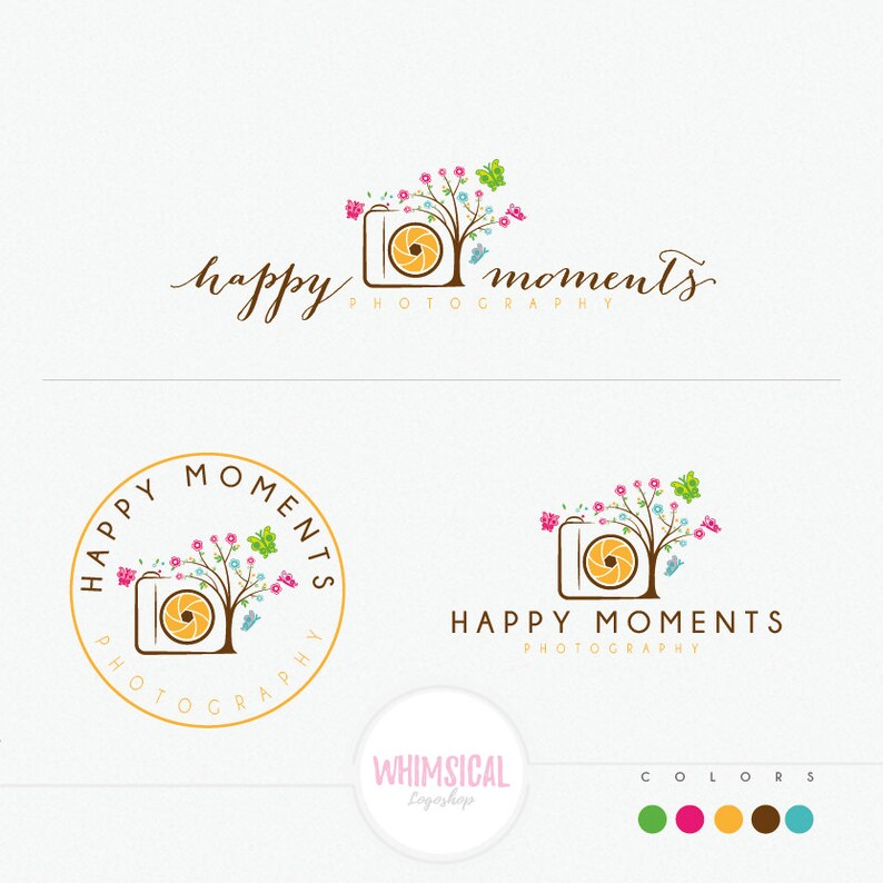 Cute Camera Tree  cute camera logo design cute branding for image 0