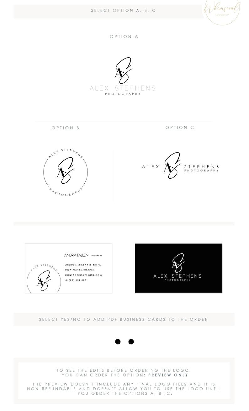 minimal photographer logo 3 initials male businesscards image 0