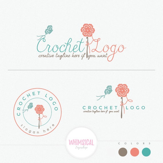 Crochet Flower And Butterfly Handmade Products Logo Craft