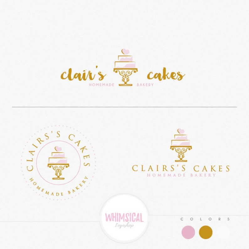 Bakery And Cake 2 Elegant Emblem Soft Pastel Look Homemade Etsy