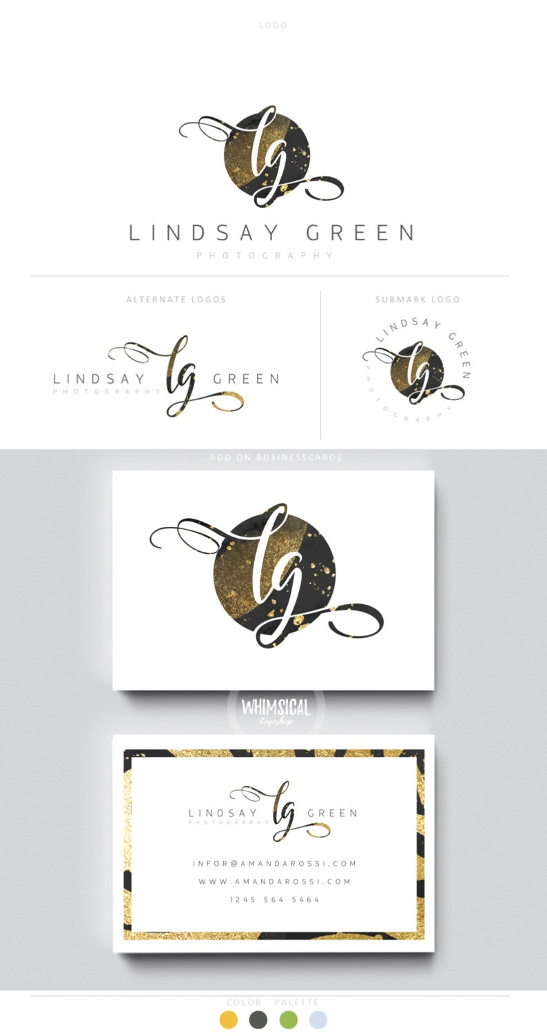 gold glitter initials circle galaxy neutral businesscards image 0