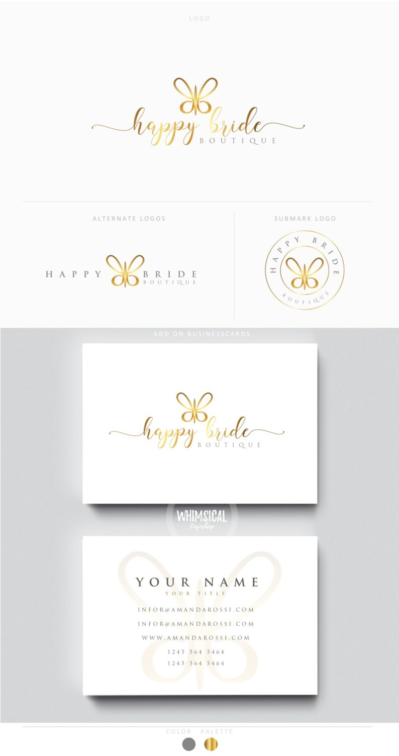 Simple Butterfly Premade Photography Logo and Watermark image 0