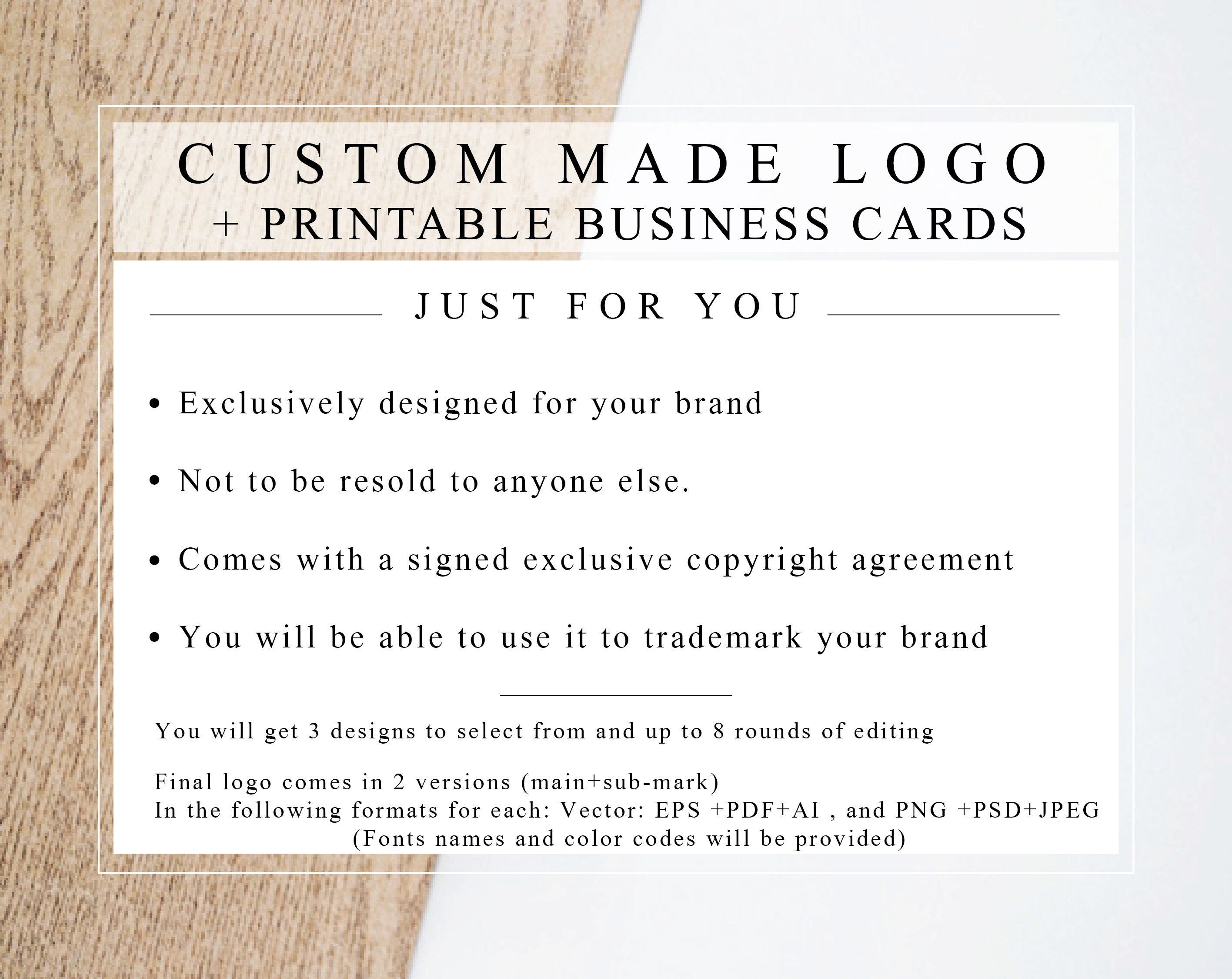 Custom Made Logo + Business-card design with EXCLUSIVE LICENCE just AGREEMENT- Designed just LICENCE for you. 7bc9a1