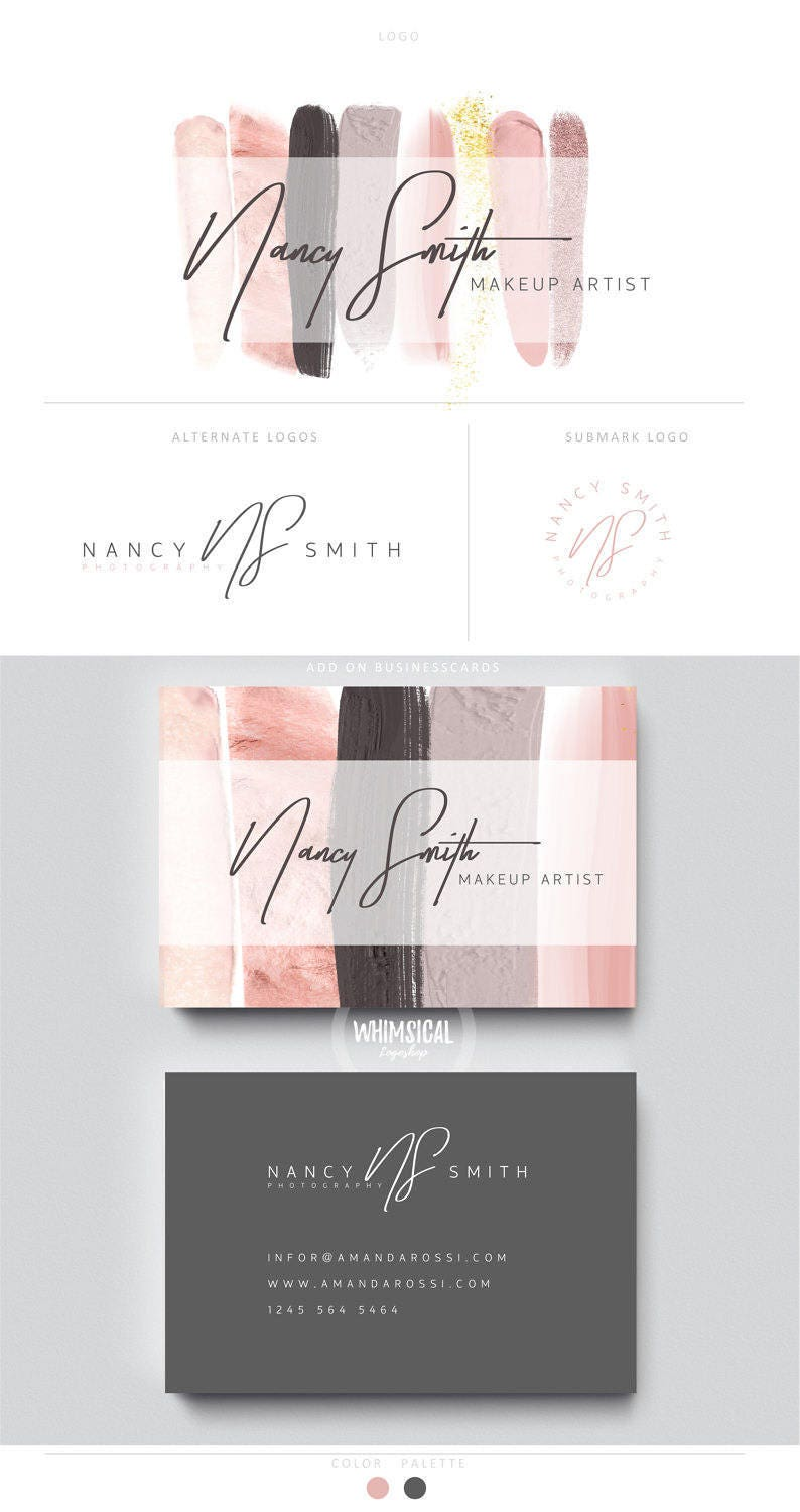 makeup artist brush 1 brand initials businesscards simple image 0