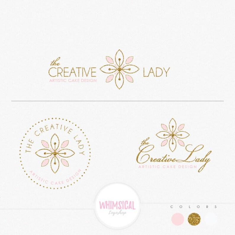 Bakery flower logo elegant emblem soft pastel look homemade image 0
