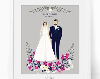 Digital Wedding illustration. Custom couple portrait. Watercolor portrait, Wedding gift. Custom Anniversary Gift. Personalized Wedding gift
