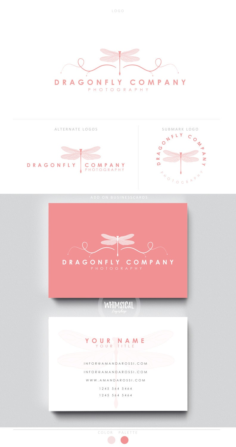 Dragonfly logo Premade Photography Logo and Watermark
