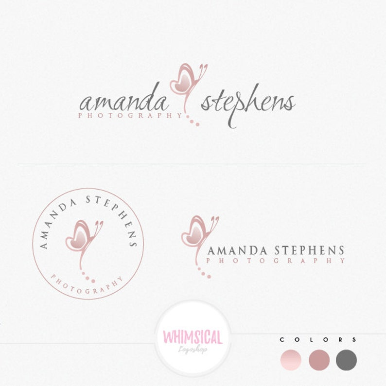 simple whimsical butterlfy3 Premade Photography Logo image 0