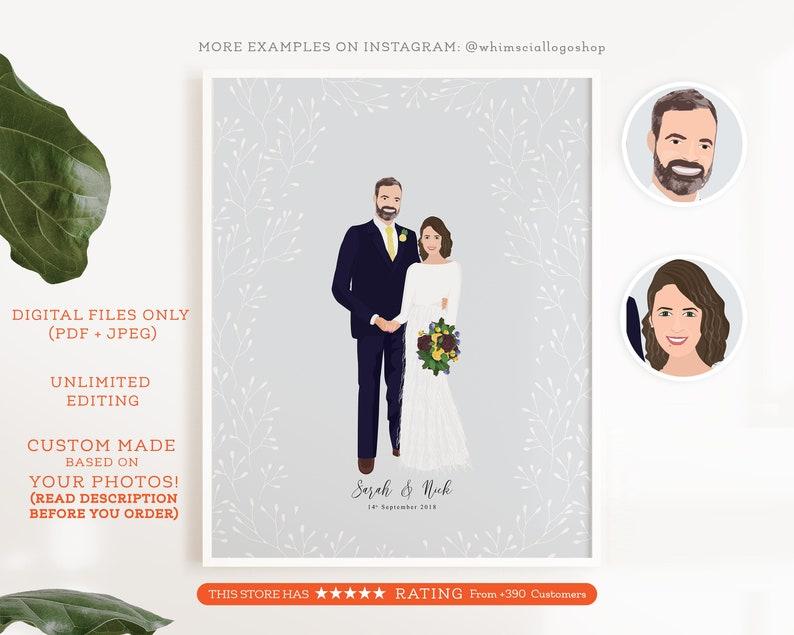 Custom Wedding Portrait  it is a Digital Personalized Wedding image 0