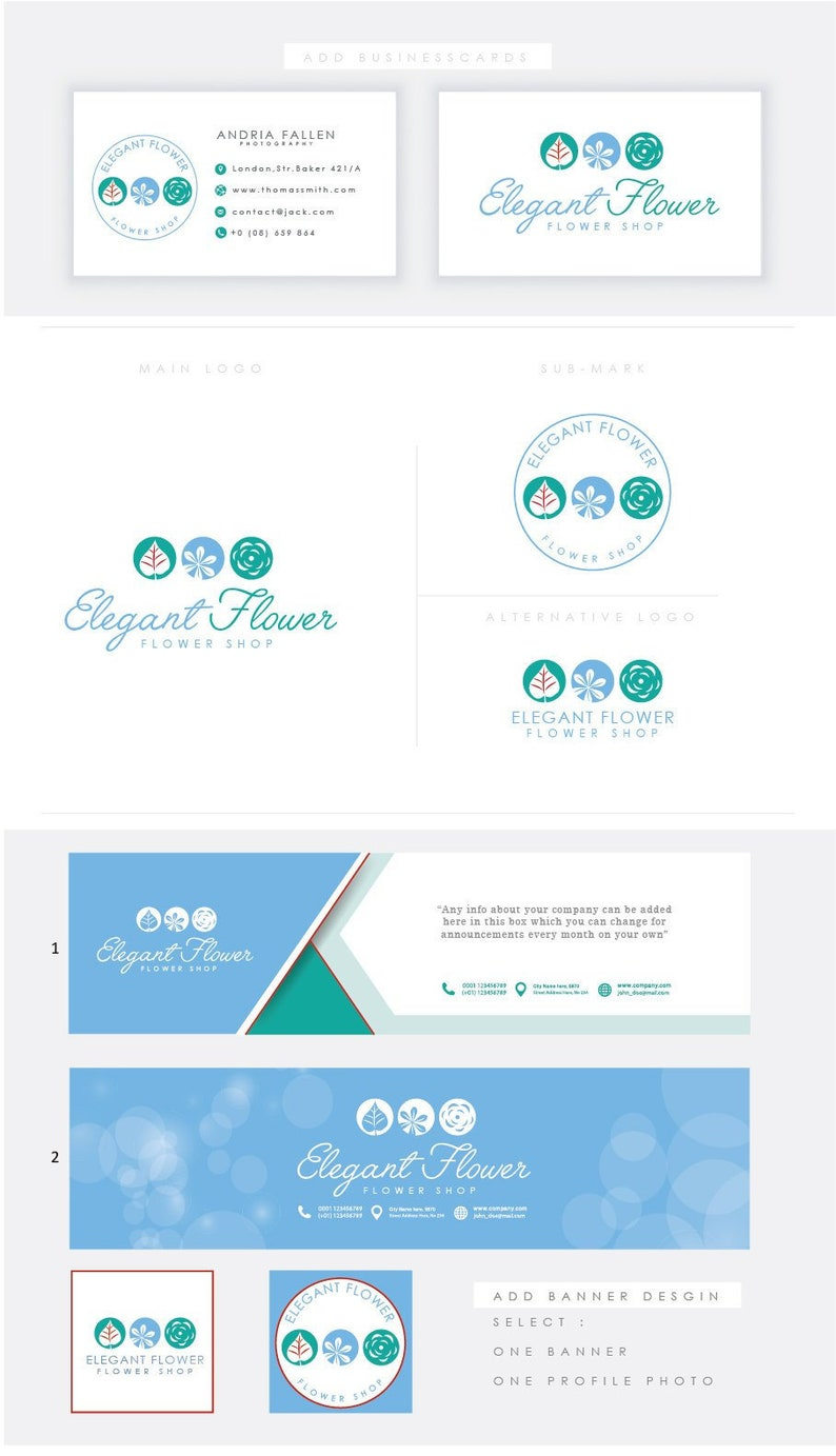 Elegant florist logo-Premade Photography Logo and Watermark image 0