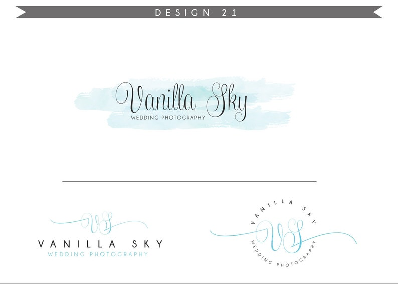 Watercolor Logo Design Branding Package Inc. Photography Logo image 0