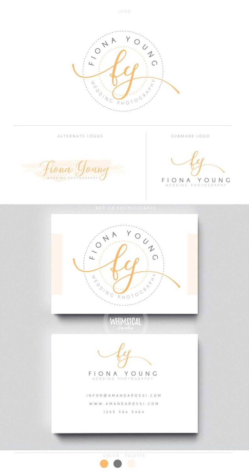 script monogram letters brush peach initials businesscards image 0