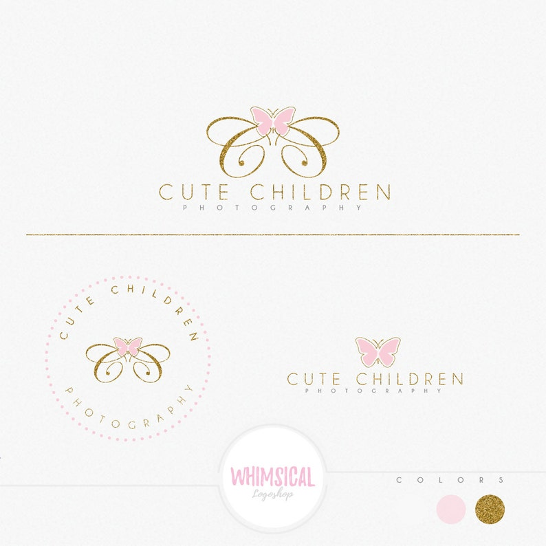 Double C Butterfly logo-Premade Photography Logo and Watermark image 0