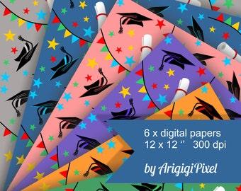 graduation celebration digital paper pack, seamless digital collage sheet,  printable scrapbooking , digital background instant download